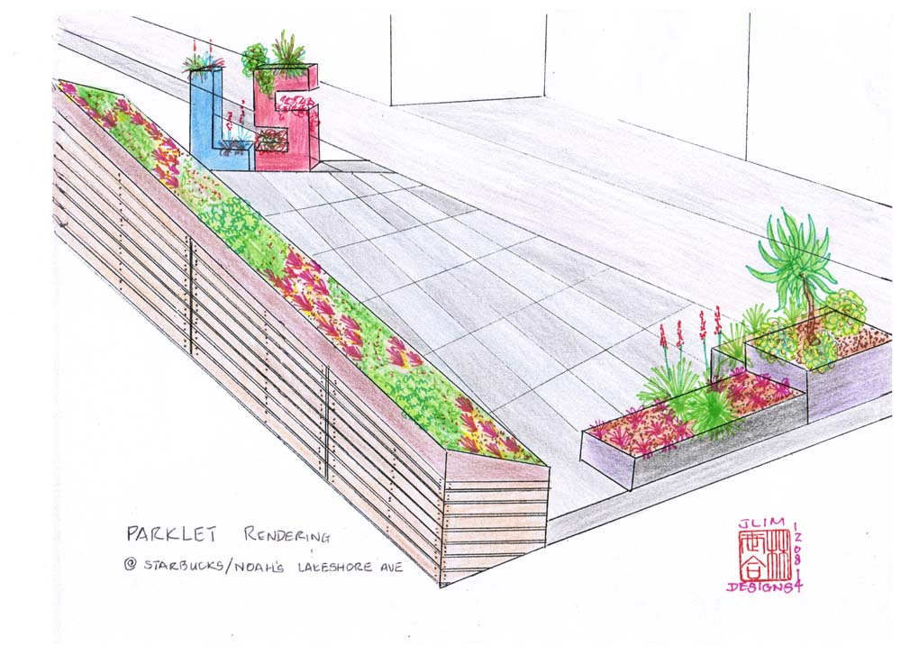Rendering for Noah's/Starbuck's parklet by Jeffrey Lim
