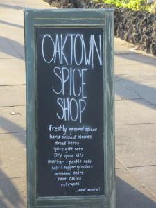 Oaktown Spice Shop sidewalk sign