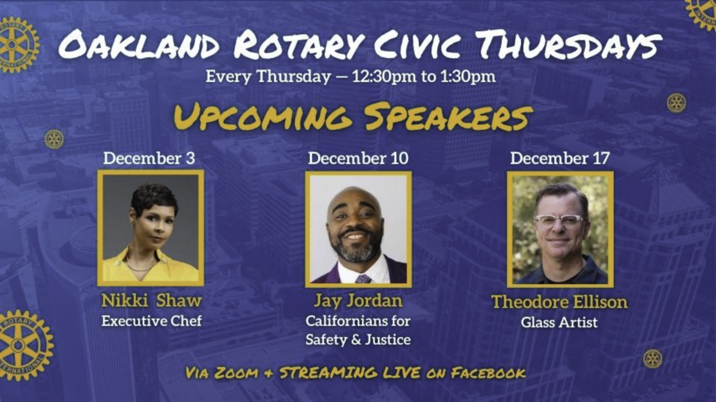 Rotary Oakland: Three December Speakers & Lots of Giving